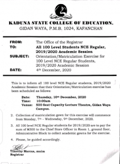 college of education gidan-waya matriculation