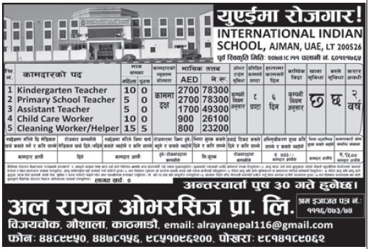 Jobs in UAE for Nepali, Salary Rs 78,300