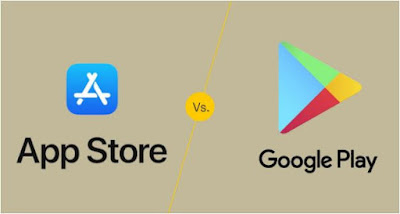 متجر, التطبيقات, آب, ستور, مقابل, متجر, جوجل, بلاى