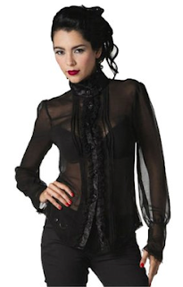 womens sheer black victorian blouse for gothic and steampunk fashion