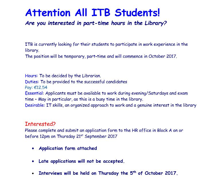 if you are interested please check your itb student email for the application form