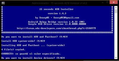 Muestra la consola de instalacion del archivo adb-setup