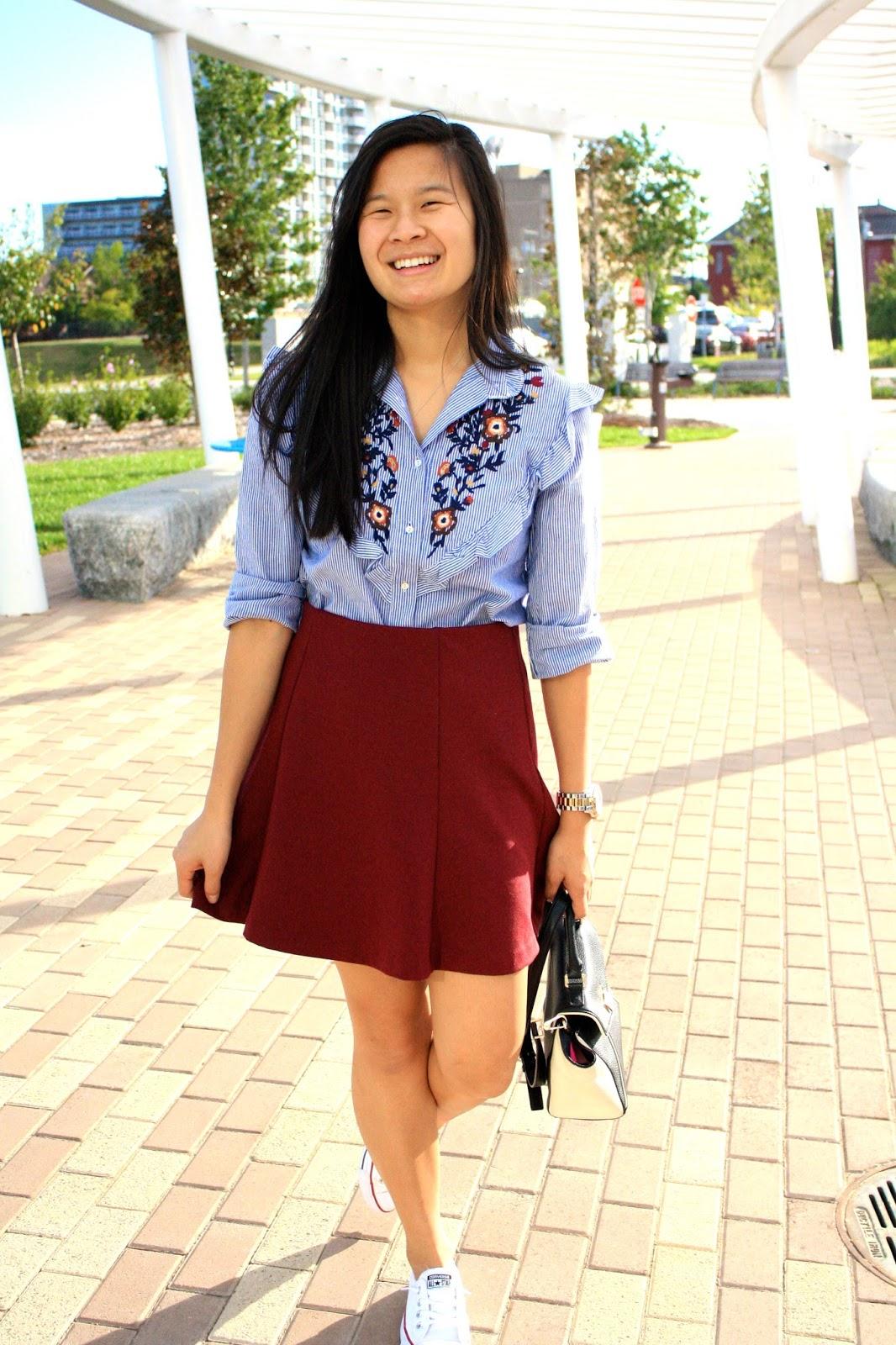 Romwe pinstriped ruffle blouse
