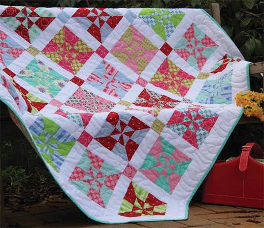 Sweet Broderie Pinwheels Quilt Free Pattern