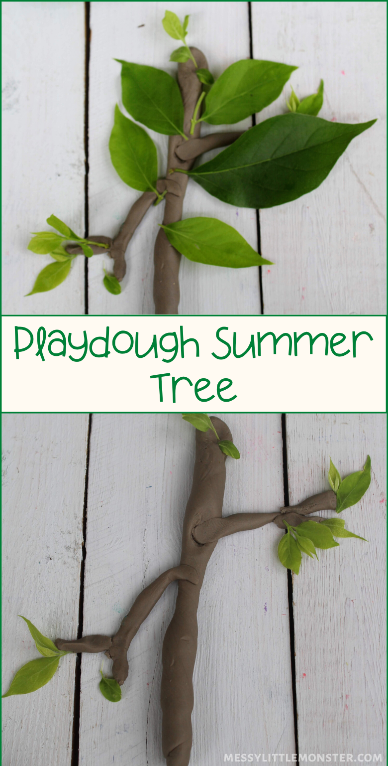 Summer activities for kids. Summer tree nature and playdough activity.