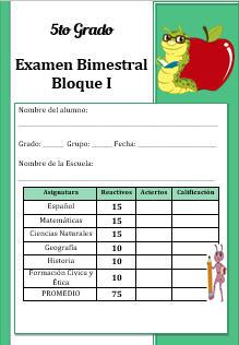 Examen Quinto grado Bloque 1 2016-2017