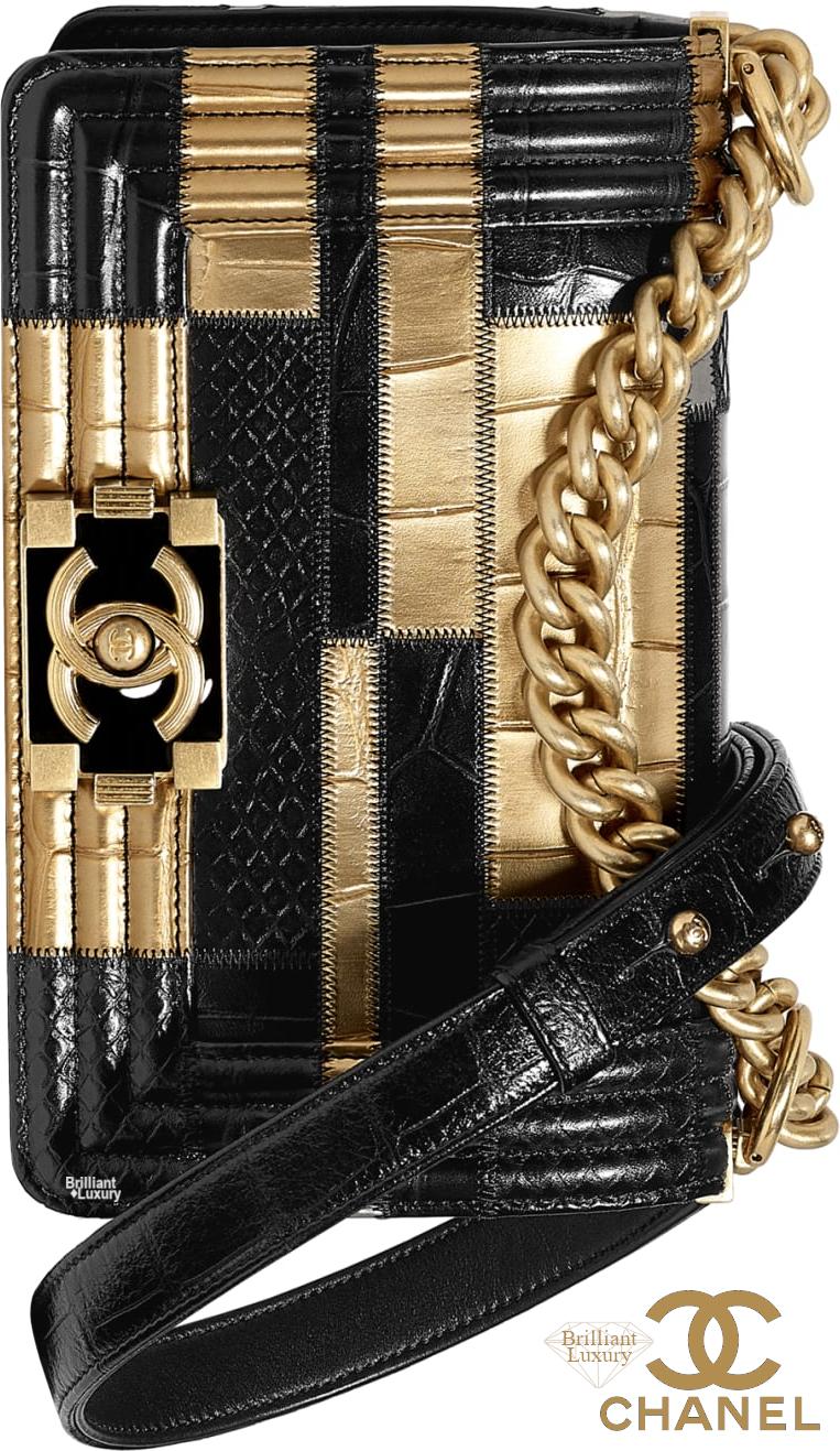 Brilliant Luxury♦Chanel Boy Crocodile Embossed Calfskin Python Handbag #gold #bags