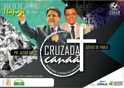 CANAÃ PROMOVERÁ GRANDE CRUZADA EVANGELÍSTICA EM ITAPAJÉ