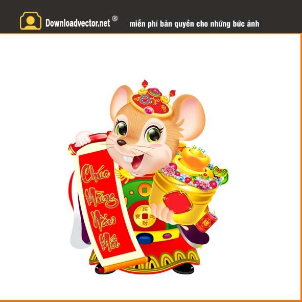 vector con chuột vàng tết