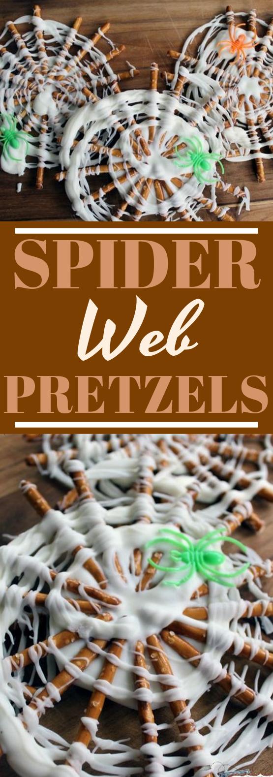 Spider Web Pretzels #desserts #party #halloween #recipes #nobake
