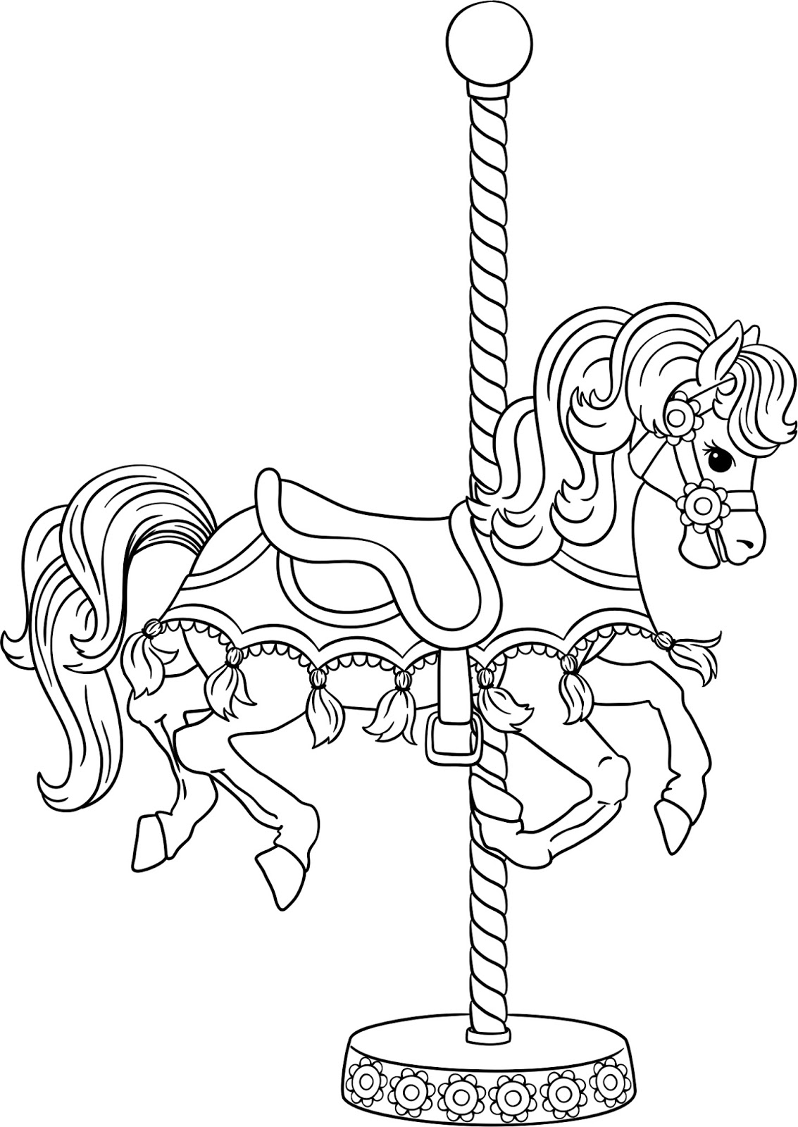 Beccy 39 s place july challenge for Carousel horse coloring page