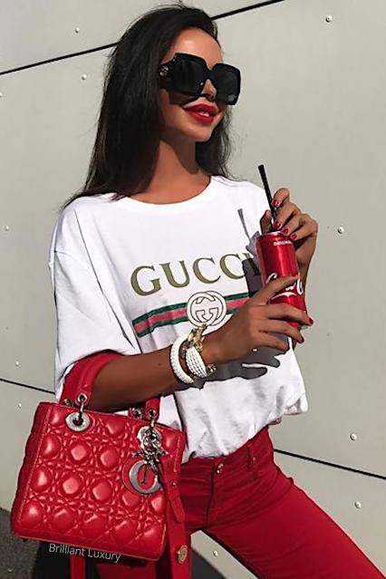 Dior red Lady Dior bag streetstyle #brilliantluxury