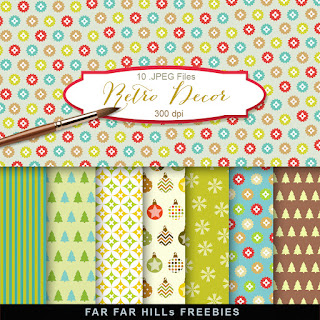 New Freebies Kit of Scrap Backgrounds - Retro Decor