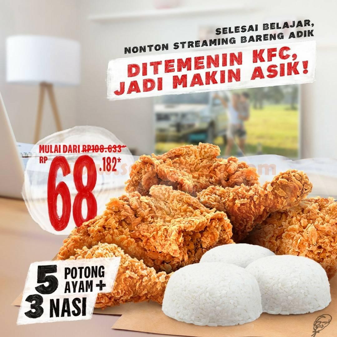 Promo KFC Paket PSBB  – Beli 5 potong ayam + 3 nasi harga mulai Rp 68.182