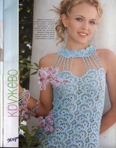 vestido elegante tejido con ganchillo en encaje - patrones