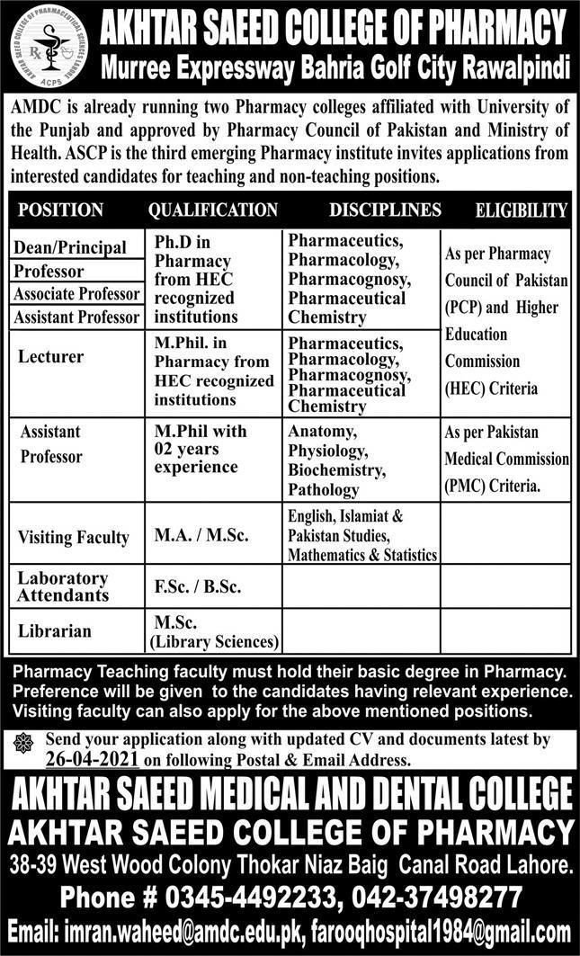 Akhter Saeed College of Pharmacy Rawalpindi Jobs 2021 in Pakistan
