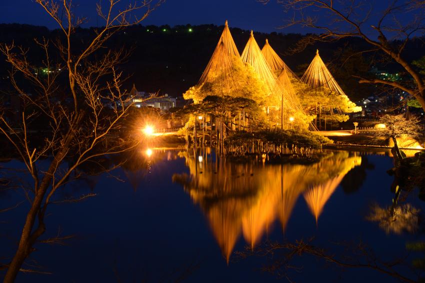 兼六園ライトアップ冬の段の写真
