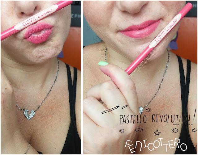 fenicottero applicazione makeup BioPastello labbra Neve Cosmetics  pastello revolution
