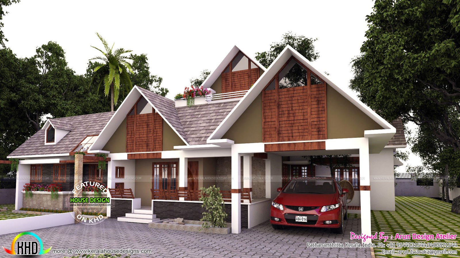 Stunning modern single floor home 260 sq m kerala home for Single floor house plans kerala style