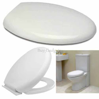 LUXURY SOFT CLOSE WHITE OVAL TOILET SEAT, elegance overlay, The Crazy Price £10.95