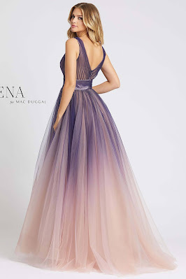 A-line Evening Dress Mac Guggal prom Dress Indigo Ombre Color Back side