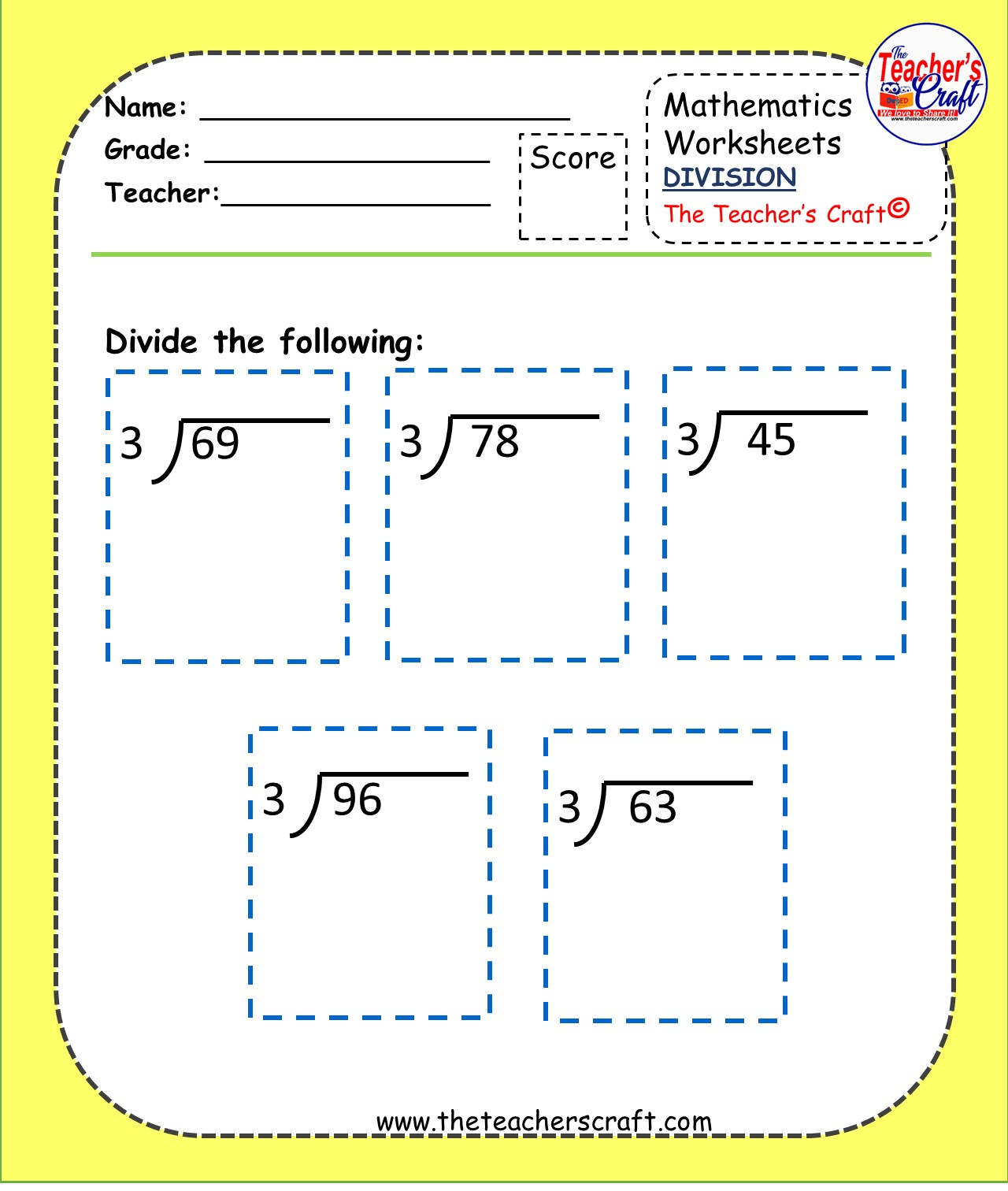 Division Worksheets Level 2