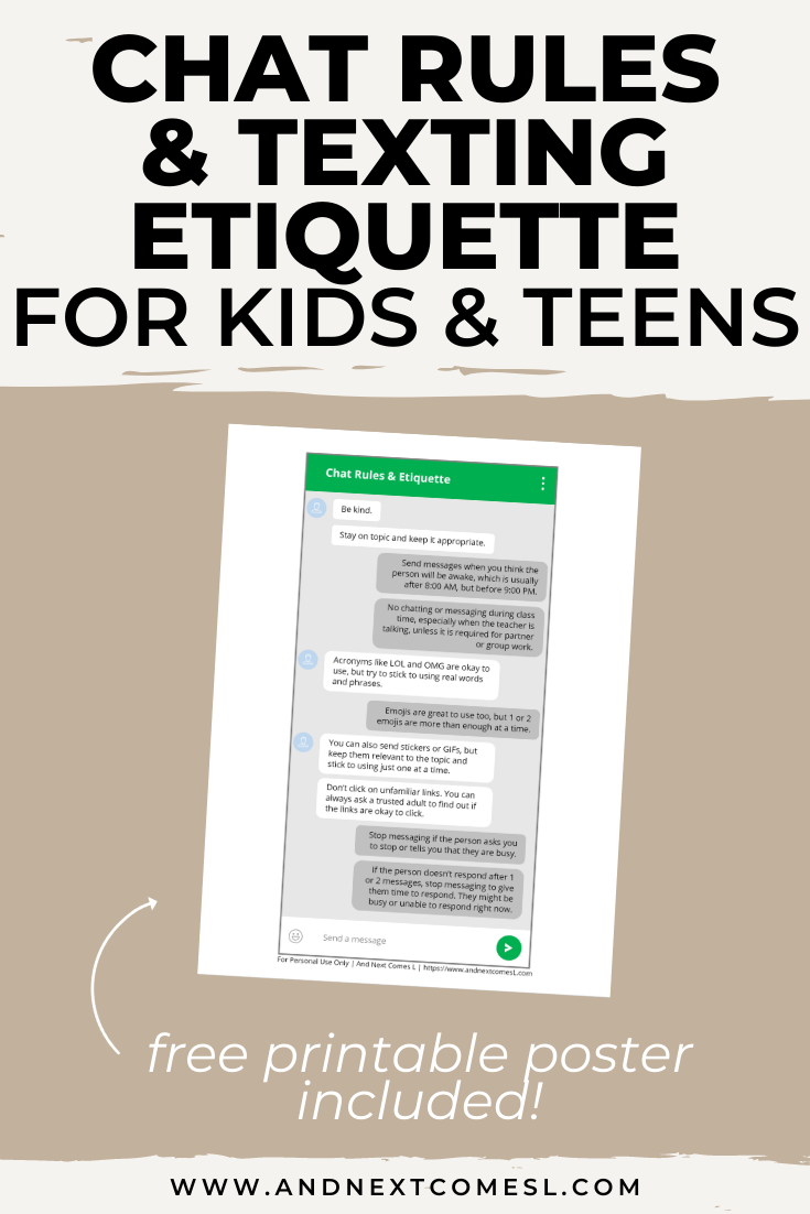 A free printable list that teaches chat rules and texting etiquette for kids, tweens, and teens