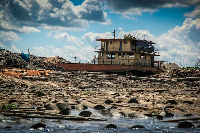 Barcos de transporte madera en Ucayali