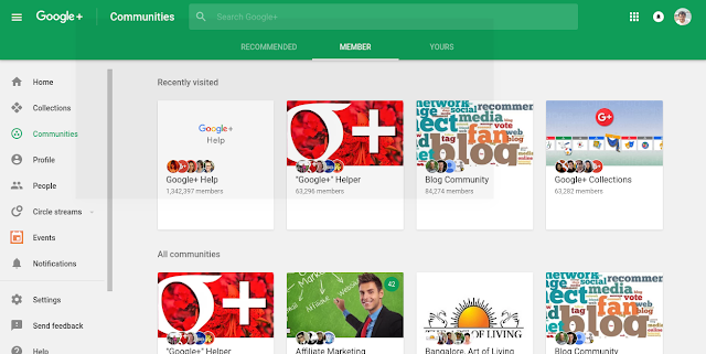 Google+ Menu and Communities section