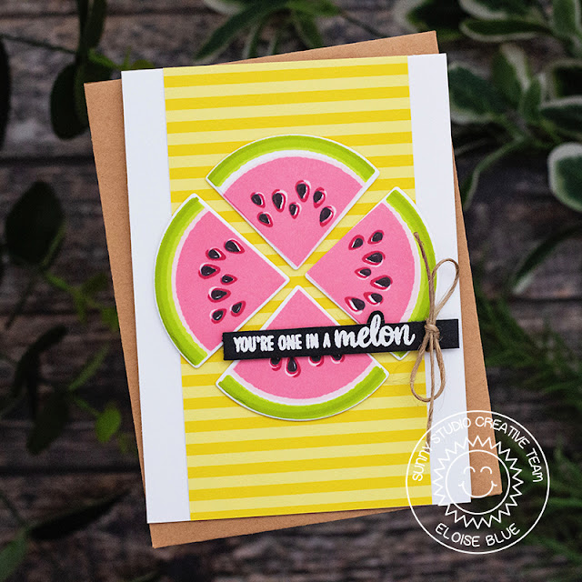 Sunny Studio Stamps: Slice Of Summer Watermelon You're One In A Melon Card by Eloise Blue (using Summer Splash 6x6 Paper)