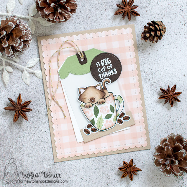 Big Cup of Thanks card by Zsofia Molnar | Newton's Mug Stamp Set, Fancy Edges Tag Die Set and Frames & Flags Die Set by Newton's Nook Designs