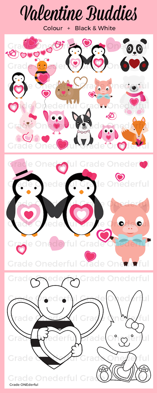 Valentine Animal Buddies Clipart. 43 colour and black/white images.