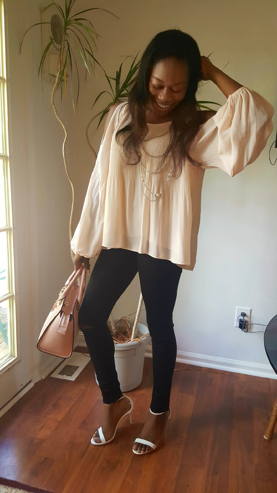 e911ffc2275a9c ASTR Pleated Cold Shoulder Top      Topshop Moto Leigh Ripped Skinny Jeans       JustFab Rosey White Sandals      Michael Kors Selma Medium Satchel      ...