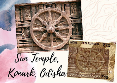 Konark Sun Temple, Odisha, monument on Rs.10 doibedouin