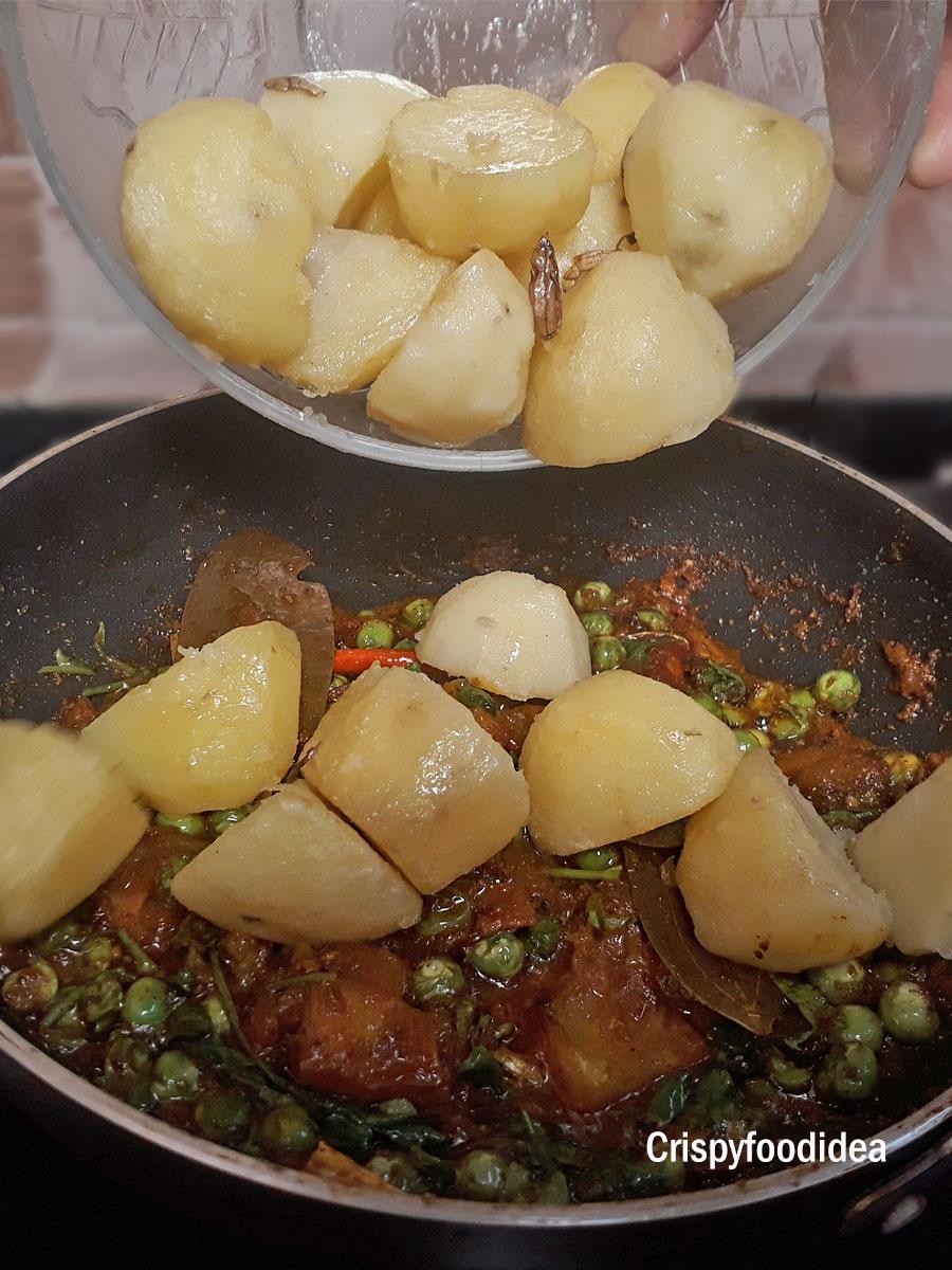 Add fried potatoes