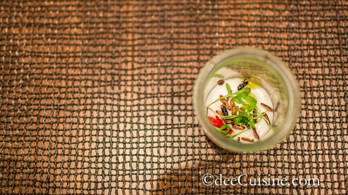 Amuse Bouche - sunchoke, puffed wild rice, piquillo pepper