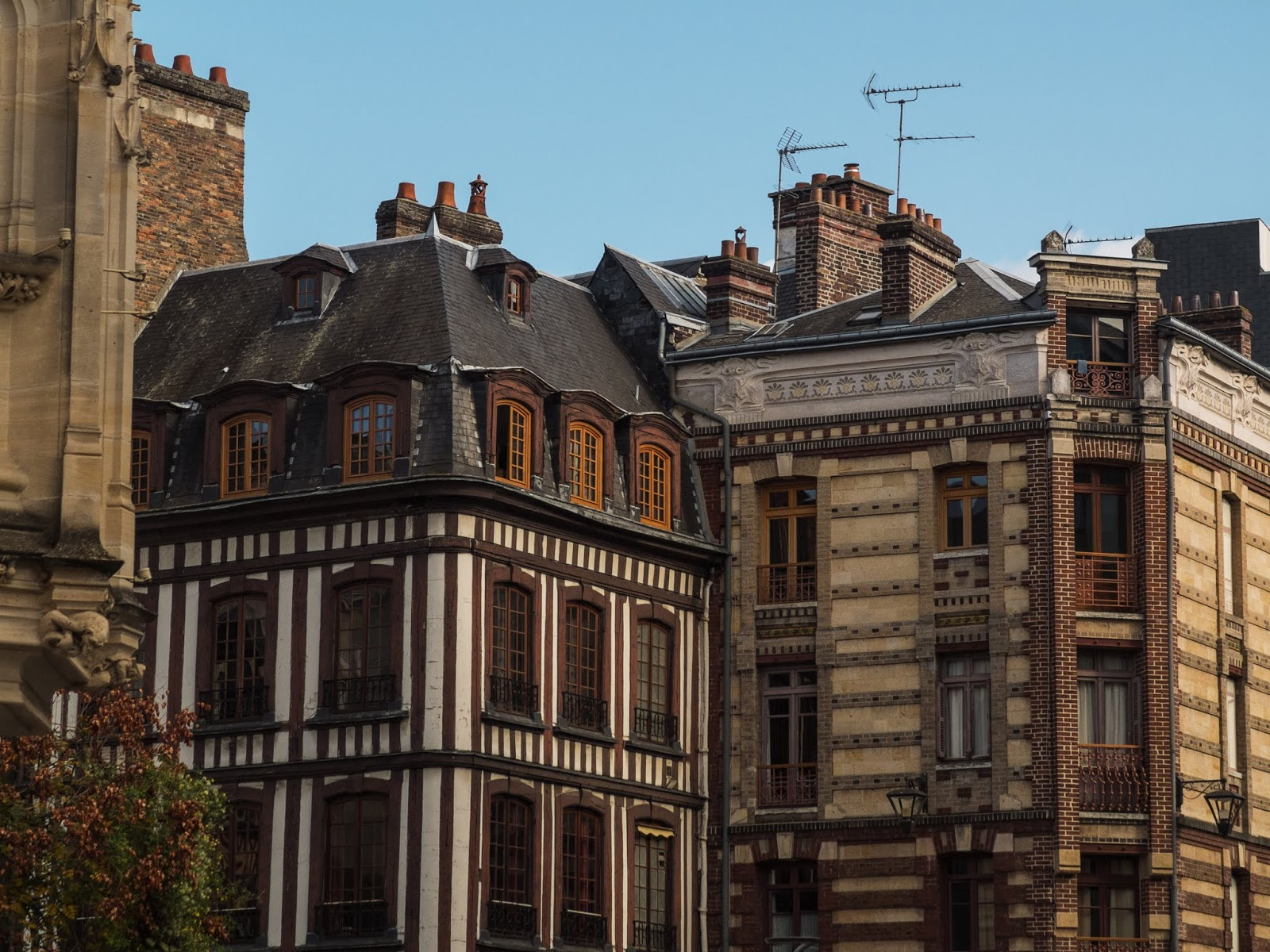 View of buildings on Place du Vieux Marche in Rouen, Normandy, France.