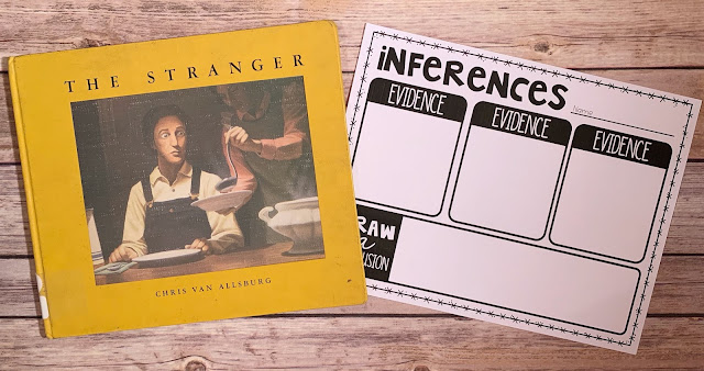 "Mentor text with the text ""The Stranger"" and graphic organizer with text ""inferences"""
