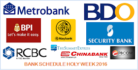 Banking Hours Schedule Holy Week 2016 announced