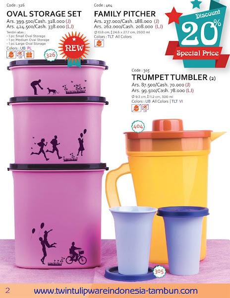Promo Diskon Tulipware Maret 2016, Oval Storage Set, Family Pitcher, Trumpet Tumbler