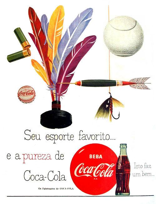 Propaganda antiga da Coca-Cola associada a esportes em 1956