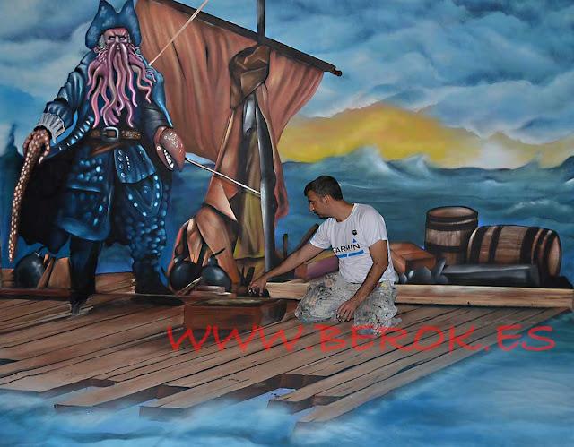 graffitis 3d piratas del caribe pulpo balsa