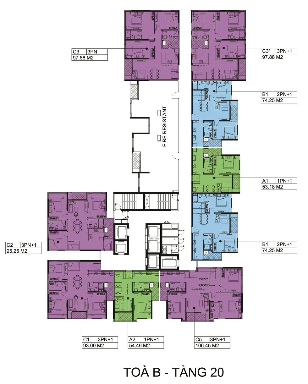 Mặt bằng tầng 20 Block B chung cư The Zen.