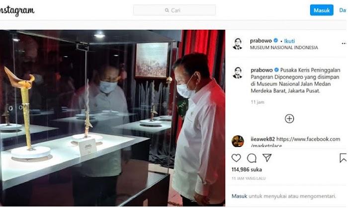 Lama Tak Timbul, Prabowo Unggah Foto dengan Keris Pangeran Diponegoro, Kode Apa?