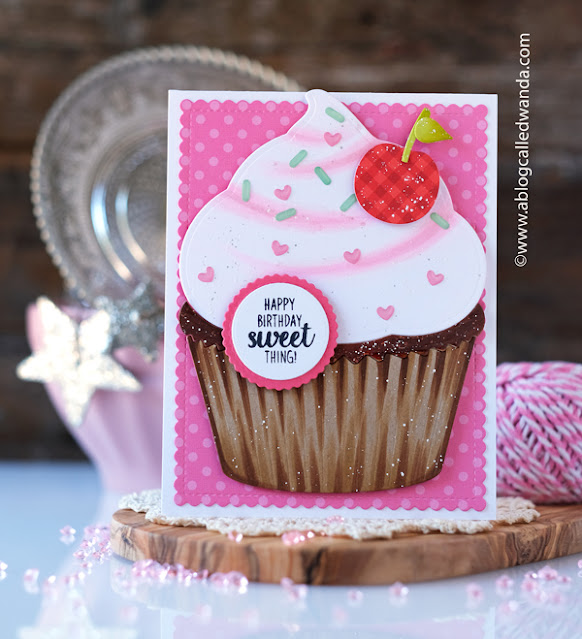 Sunny Studio Stamps: Cupcake Shape Die Frilly Frame Dies Card by Wanda Guess