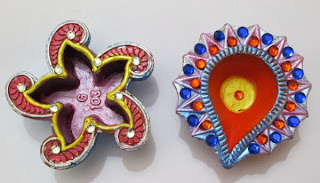kalanirmitee: craft ideas for kids- handpainted diya's- diya's- craft ideas for diwali- diwali