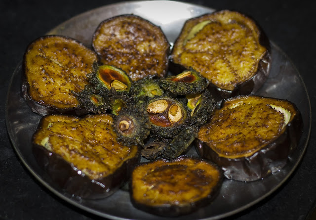 Bagun Vaja (Brinjal Fry), Ucche Vaja ( Bitter gourd fry)