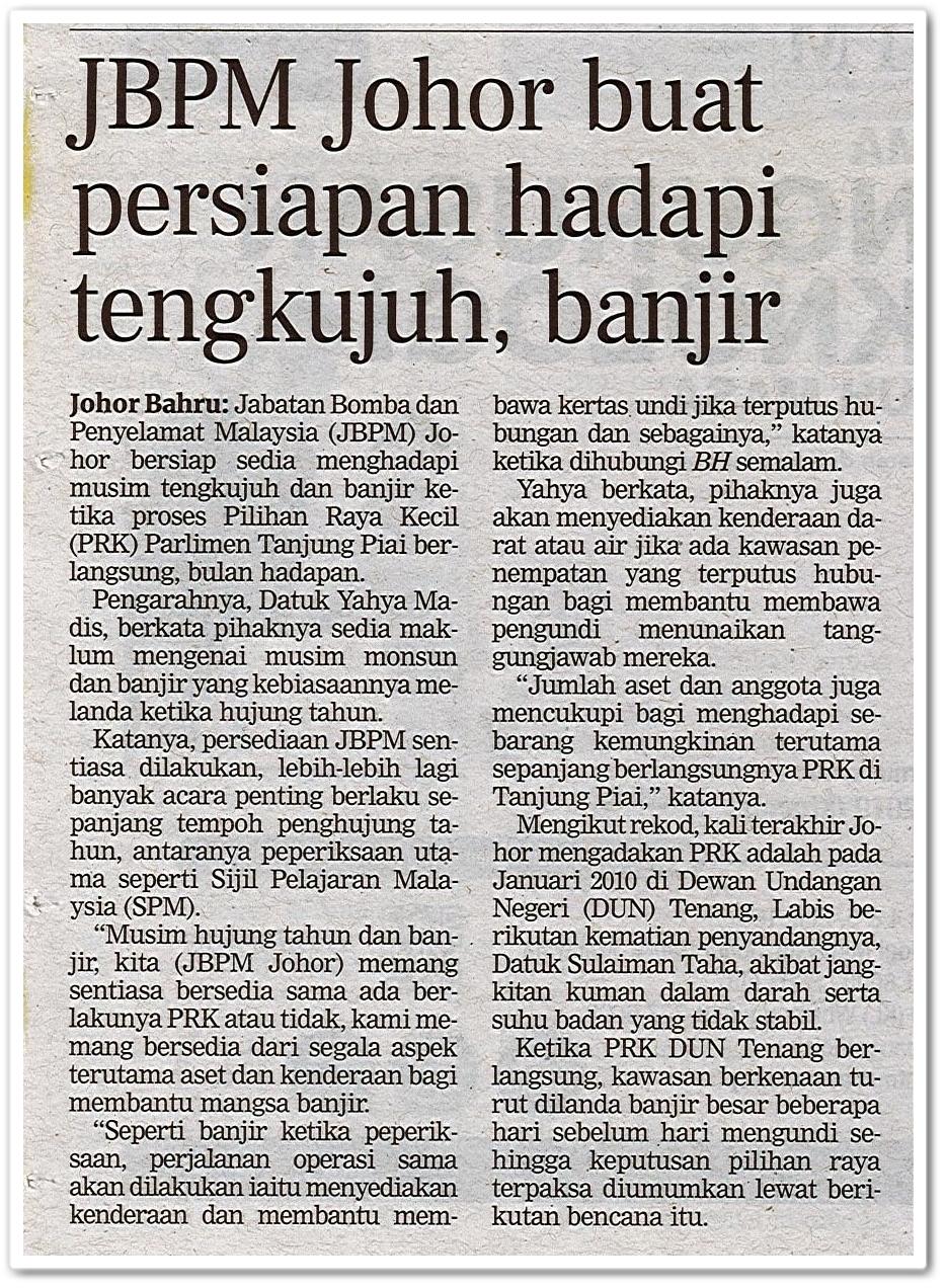 JBPM Johor buat persiapan hadapi tengkujuh, banjir - Keratan akhbar Berita Harian 13 Oktober 2019