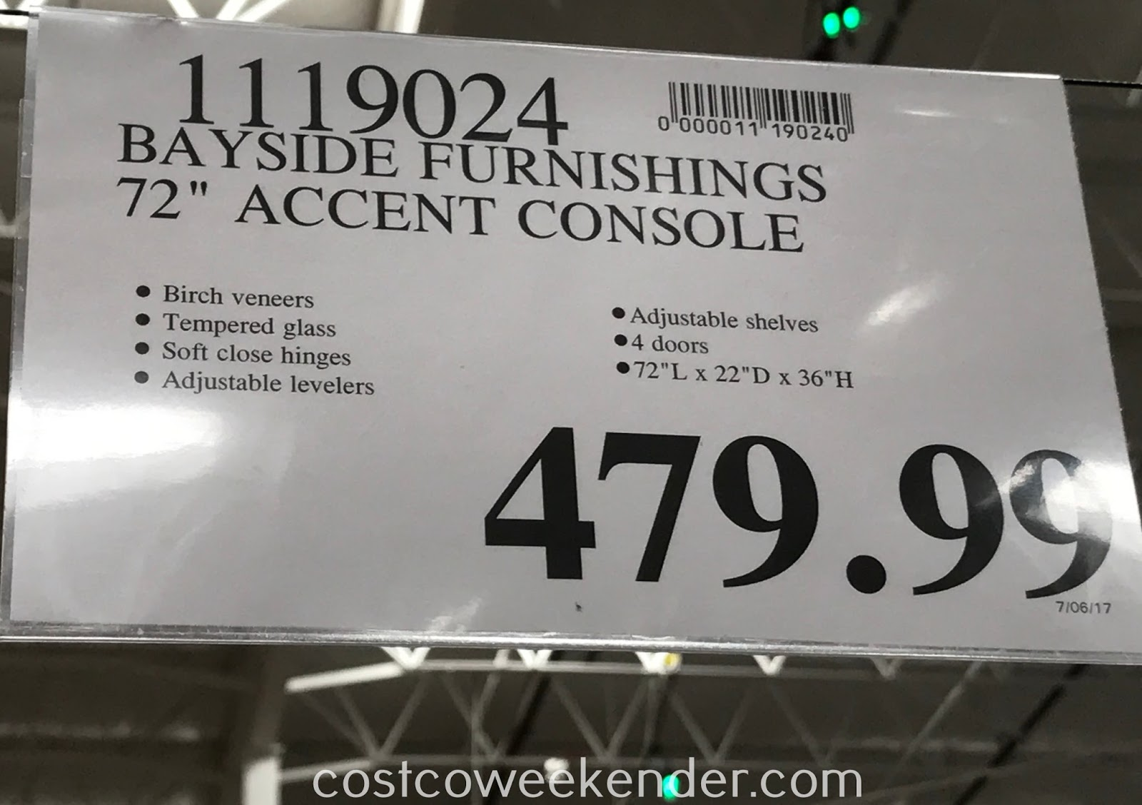 Deal for the Bayside Furnishings 72in Accent Console at Costco