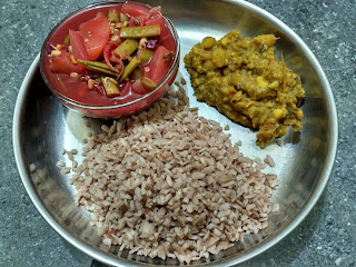 Maappillai samba beaten rice,  Chayote Beetroot Cluster beans Green gram sprouts Soup,  Karunai kilangu Masiyal